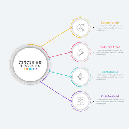 Four paper white round elements arranged in vertical row and connected to main circle by lines. Concept of 4 business features to choose. Simple infographic design template. Flat vector illustration.