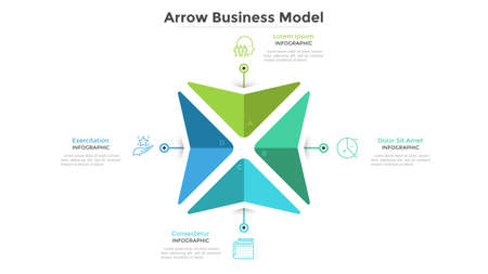 Business model with 4 arrows pointing at center. Concept of four features of company's strategy. Simple infographic design template. Flat vector illustration for presentation, brochure, banner.  イラスト・ベクター素材