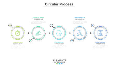 Five paper white round elements arranged in horizontal row. Concept of 5-stepped business development process. Modern infographic design template. Minimal vector illustration for progress bar. Vetores