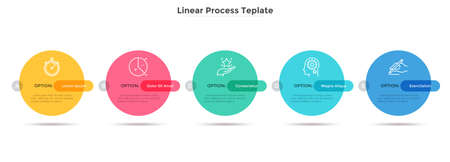 Five colorful round elements placed in horizontal row. Concept of business plan with 5 successive stages. Simple infographic design template. Modern vector illustration for report, progress bar.