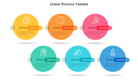 Six colorful round elements placed in horizontal row. Concept of business plan with 6 successive stages. Simple infographic design template. Modern vector illustration for report, progress bar.