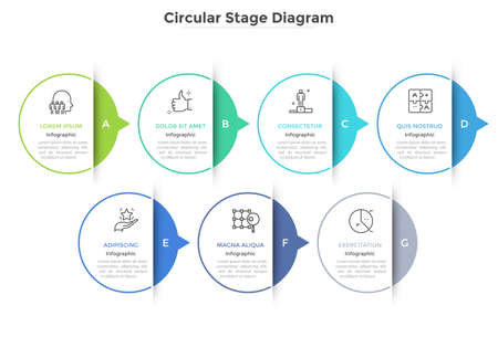 Horizontal chart with 7 paper white elements connected by arrows. Concept of seven successive stages of business progress. Modern infographic design template. Vector illustration for presentation. Çizim
