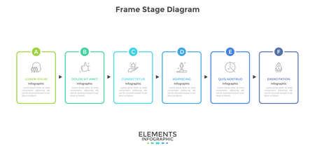 Horizontal diagram with 6 rectangular frames connected by arrows. Concept of six strategic steps of company's development. Simple infographic design template. Vector illustration for presentation.  イラスト・ベクター素材
