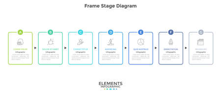 Horizontal diagram with 7 rectangular frames connected by arrows. Concept of seven strategic steps of company's development. Simple infographic design template. Vector illustration for presentation.