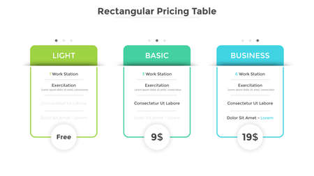 Three rectangular pricing tables or cards with list of included options. Light, basic and business subscription plans to choose. Modern infographic design template. Vector illustration for website.