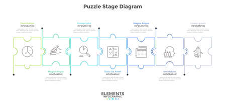 Horizontal chart with 7 connected jigsaw puzzle pieces. Concept of seven dependent components or parts of business project. Linear infographic design template. Vector illustration for progress bar. Illustration