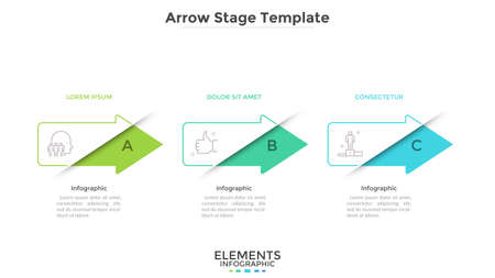 Progress bar with 3 colorful arrows placed in horizontal row. Concept of three successive phases of business development. Modern infographic design template. Vector illustration for presentation. Çizim