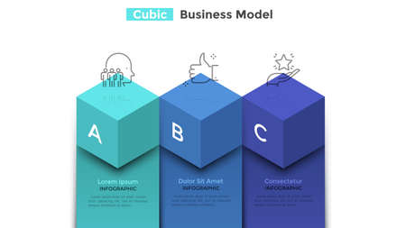 Bar chart with three colorful cubic elements. Concept of business model with 3 steps of company's progress and development. Modern infographic design template. Vector illustration for presentation.