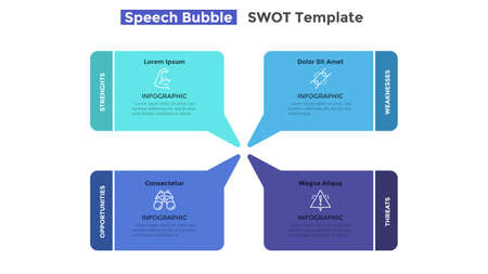 SWOT chart with 4 colorful speech balloons. Concept of strengths, weaknesses, threats and opportunities of company. Simple infographic design template. Flat vector illustration for business analytics.
