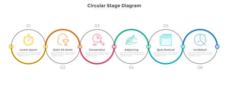 Six circular elements arranged into horizontal row. Concept of 6 strategic steps of business project development. Linear infographic design template. Vector illustration for banner, presentation.