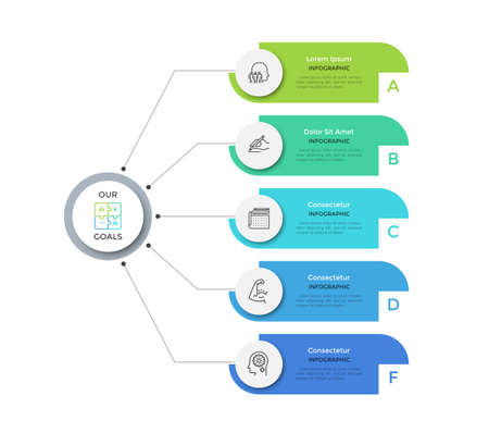 Flowchart with 5 round paper white elements connected to main circle. Concept of five main business goals of company. Modern infographic design layout. Flat vector illustration for brochure, report.