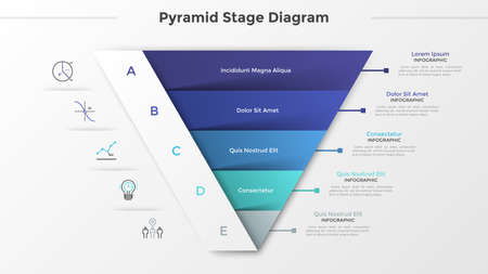 Triangular chart or pyramid diagram divided into 5 parts or levels, linear icons and place for text. Concept of five stages of project development. Infographic design template. Vector illustration.
