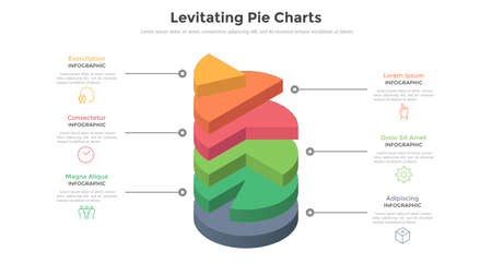 3d pie chart or comparison diagram with 6 colorful levitating layers. Concept of six levels or stages of business project. Realistic infographic design template. Modern vector illustration for report. Illustration