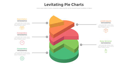 3d pie chart or comparison diagram with 5 colorful levitating layers. Concept of five levels or stages of business project. Realistic infographic design template. Modern vector illustration for report.