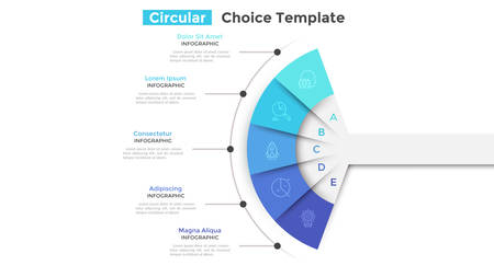 Fan chart divided into 5 parts or pieces. Concept of five business features or options to choose. Simple infographic design template. Modern flat vector illustration for website, presentation. Vecteurs