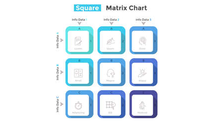 Matrix diagram with 9 square cells arranged in rows and columns. Table with nine options to choose. Simple infographic design template. Flat vector illustration for business information organization.