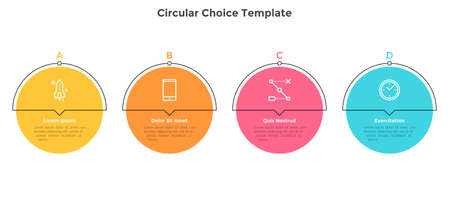 Four colorful round elements placed in horizontal row. Chart representing 4 milestones of business development. Simple infographic design template. Flat vector illustration for presentation, report. Illustration