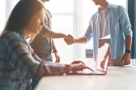 Business partnership meeting concept, businessmans handshake