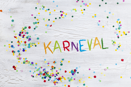 carnival confetti on wood background Imagens - 69769509