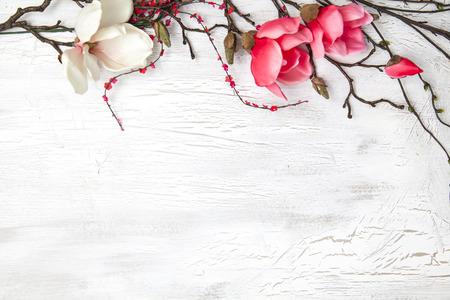 hello voorjaar achtergrond met bloemen Stockfoto