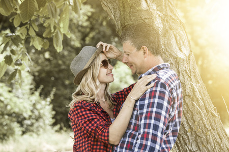 positiv: young laughing woman with his happy boyfriend