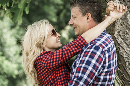 young laughing woman with his happy boyfriend
