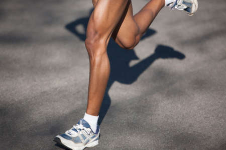 calves: Athlete running in a long distance race