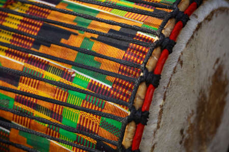 Close up view of traditional african drums