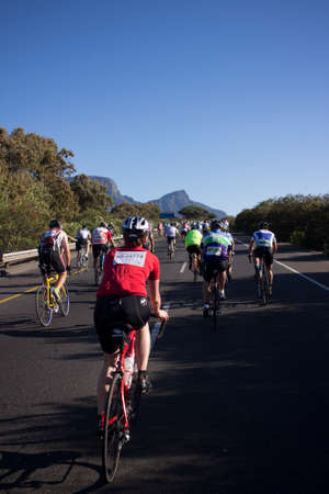Cape Town, Western Cape, South Africa - March 8, 2015: Amateur cyclists competing in the 2015 Cape Town Cycle Tour.