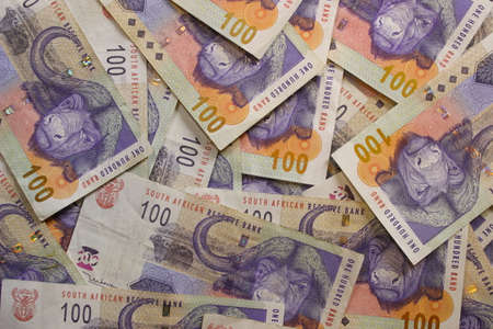 rand: One hundred rand banknotes, second largest bill from South Africa.