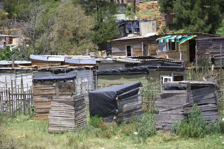 africa antique: Wooden houses in an African informal settlement