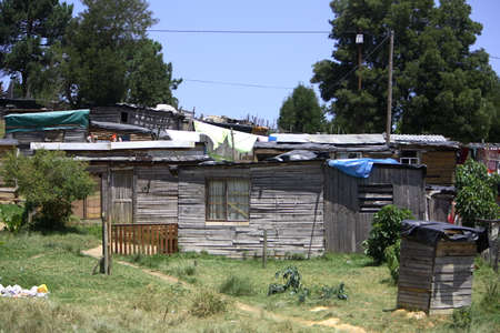 informal: Wooden houses in an African informal settlement