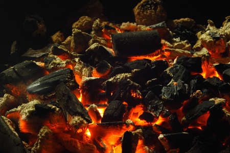 combust: Close up view of charcoal burning fire Stock Photo