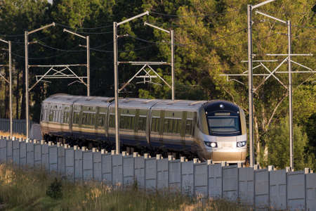 railway transportation: Gautrain, high speed train traveling from OR Tambo International Airport to Pretoria, South Africa. Editorial