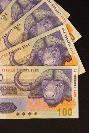 rand: One hundred rand banknotes second largest bill from South Africa. Stock Photo
