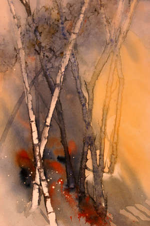 righteous: Original watercolour abstract view of trees in a forest Stock Photo