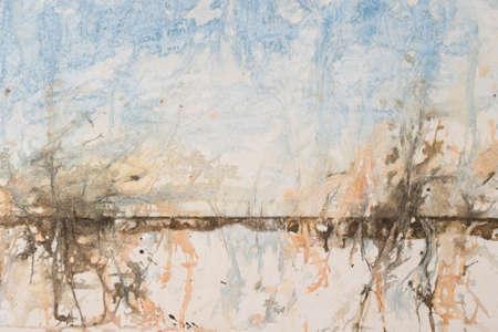 horrizon: Original watercolour, abstract landscape background