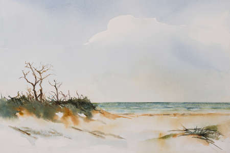 seascape: Original watercolour, Beach Landscape.
