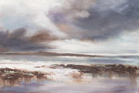 オリジナル油絵、嵐のビーチ海。 写真素材