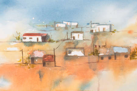 south african: Original watercolour, African Village.