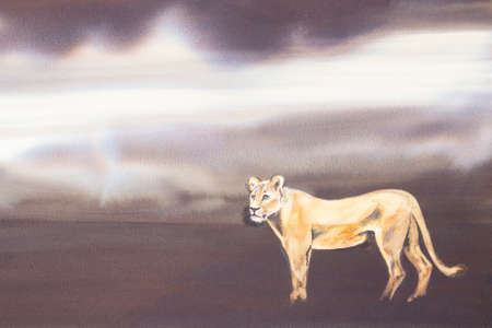 'wildlife reserve': Original watercolour, Lioness on the prowl.