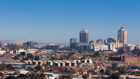 johannesburg: Sandton, Gauteng, South Africa - July 17, 2015: Cityscape looking Northwest towards Sandton. Editorial
