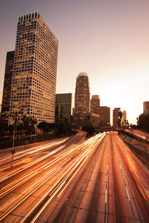 Los Angeles, Urban City at Sunset with Freeway Trafic photo