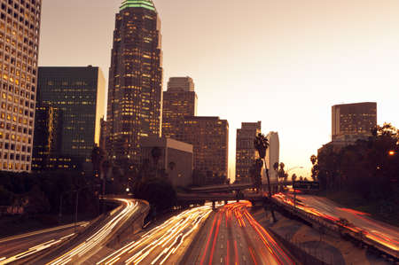 trafic: Los Angeles, Urban City at Sunset with Freeway Trafic
