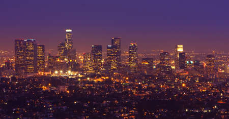 downtown district: Los Angeles, Urban City at Sunset
