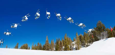 Sequence of Skier doing Radical Back Flip off Jump
