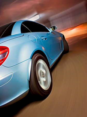 Fast Sports Car with Motion Blur Stock Photo