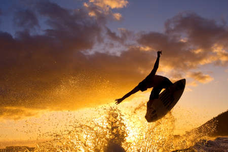 hawaii sunset: Sunset Surfer Stock Photo