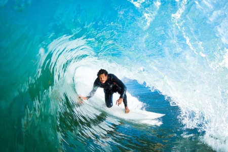 Surfer On Blue Ocean Wave Stock Photo - 11946013