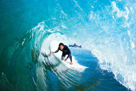 Surfer On Blue Ocean Wave Stock Photo - 11945985